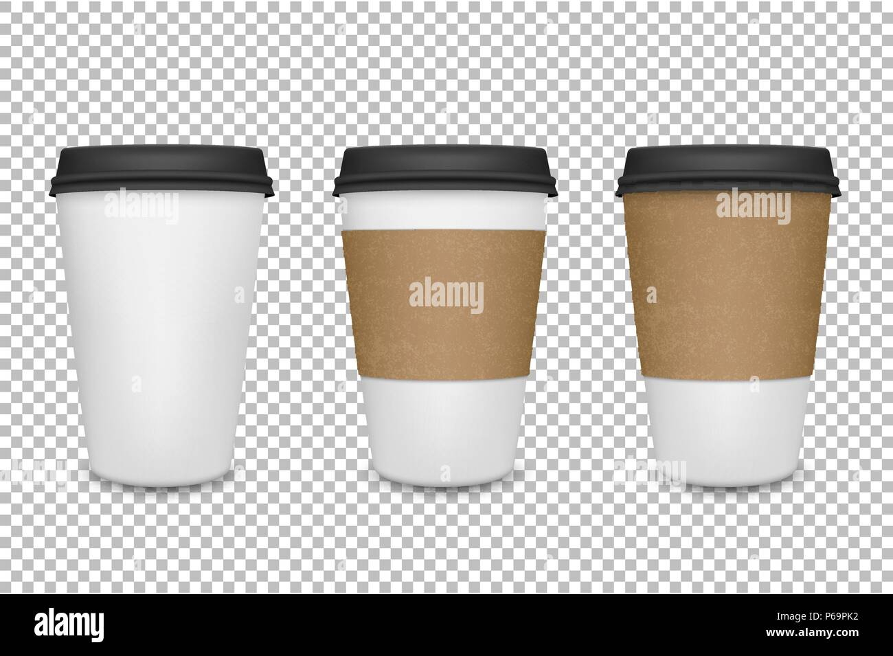Vector Realistic 3d Paper Coffee Cup Icon Set Closeup On Transparency Grid Background Design Template For Graphics Mockup Front View
