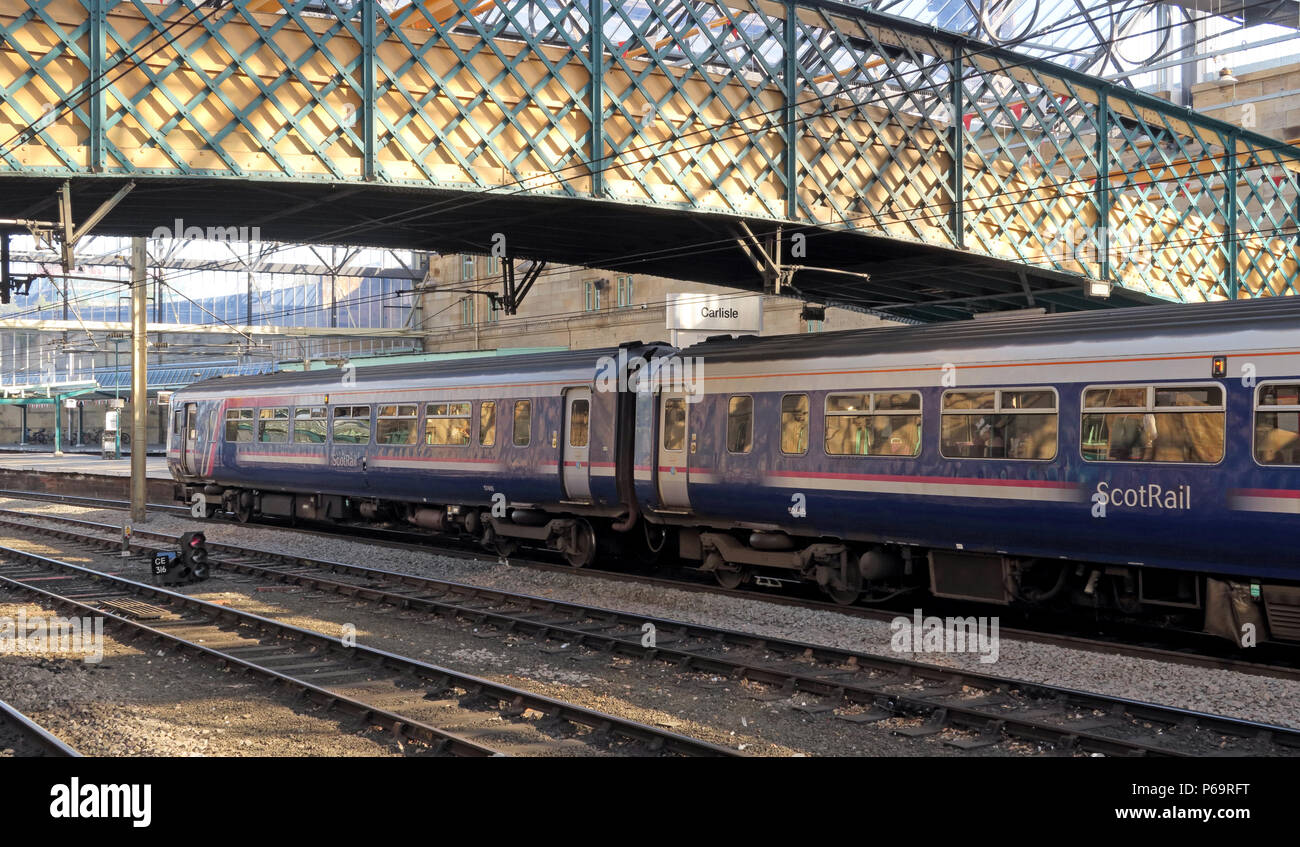 Abellio Scot Rail Glasgow two carriage diesel , DMU train, at Carlisle Railway Station, Cumbria, England, UK - Stock Image