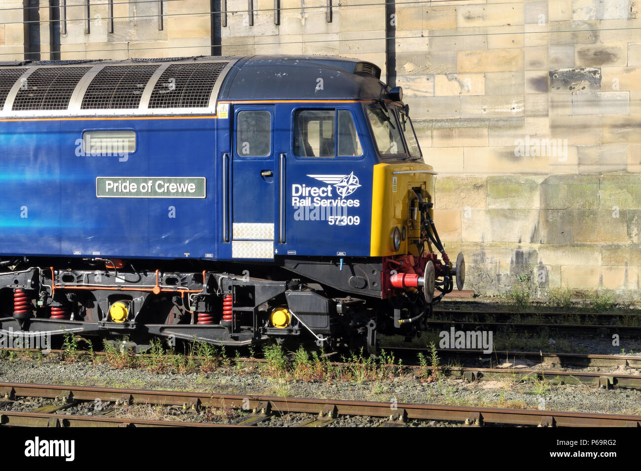 Direct Rail Services diesel engine 57309 Pride Of Crewe, at Carlisle Station,  Court Square, Cumbria, Carlisle, North West England, UK,  CA1 1QZ - Stock Image