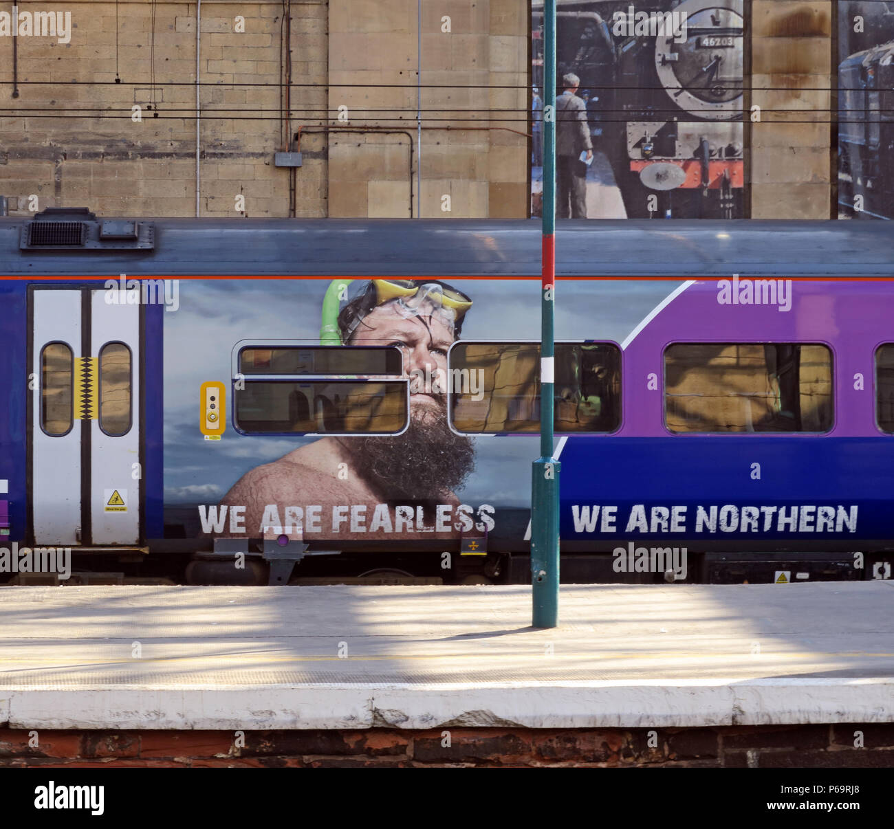 We are Fearless, We Are Northern branding logo, on Northern Railway Train, Carlisle Railway Station, Carlisle, North West England, UK - Stock Image