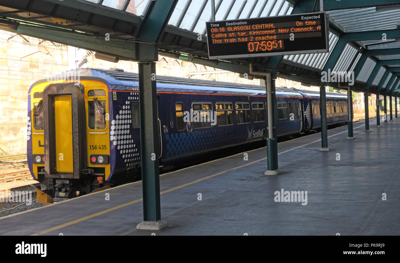 Scot Rail train, Carlisle to Glasgow via Dumfries, at platform One, North West England, UK, - Stock Image