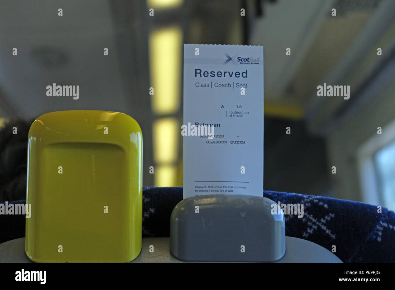 Scot Rail reserved journey from Aberdeen to Glasgow Queen Street, train from Perth, Scotland, UK - Stock Image