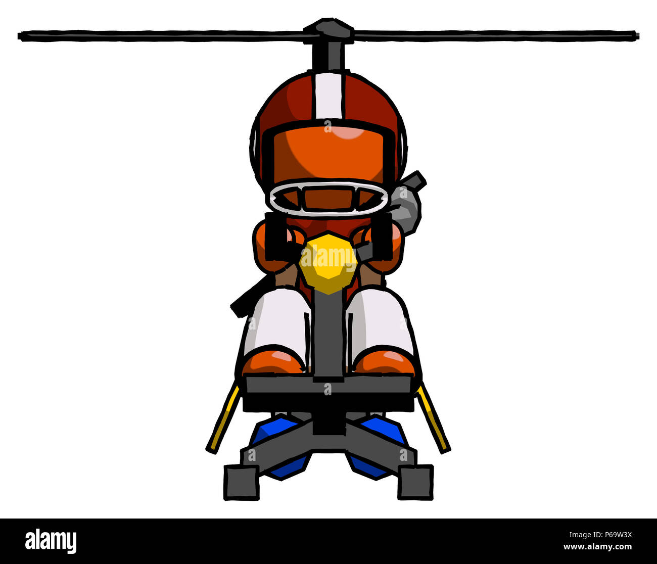 Orange Football Player Man flying in gyrocopter front view - Stock Image