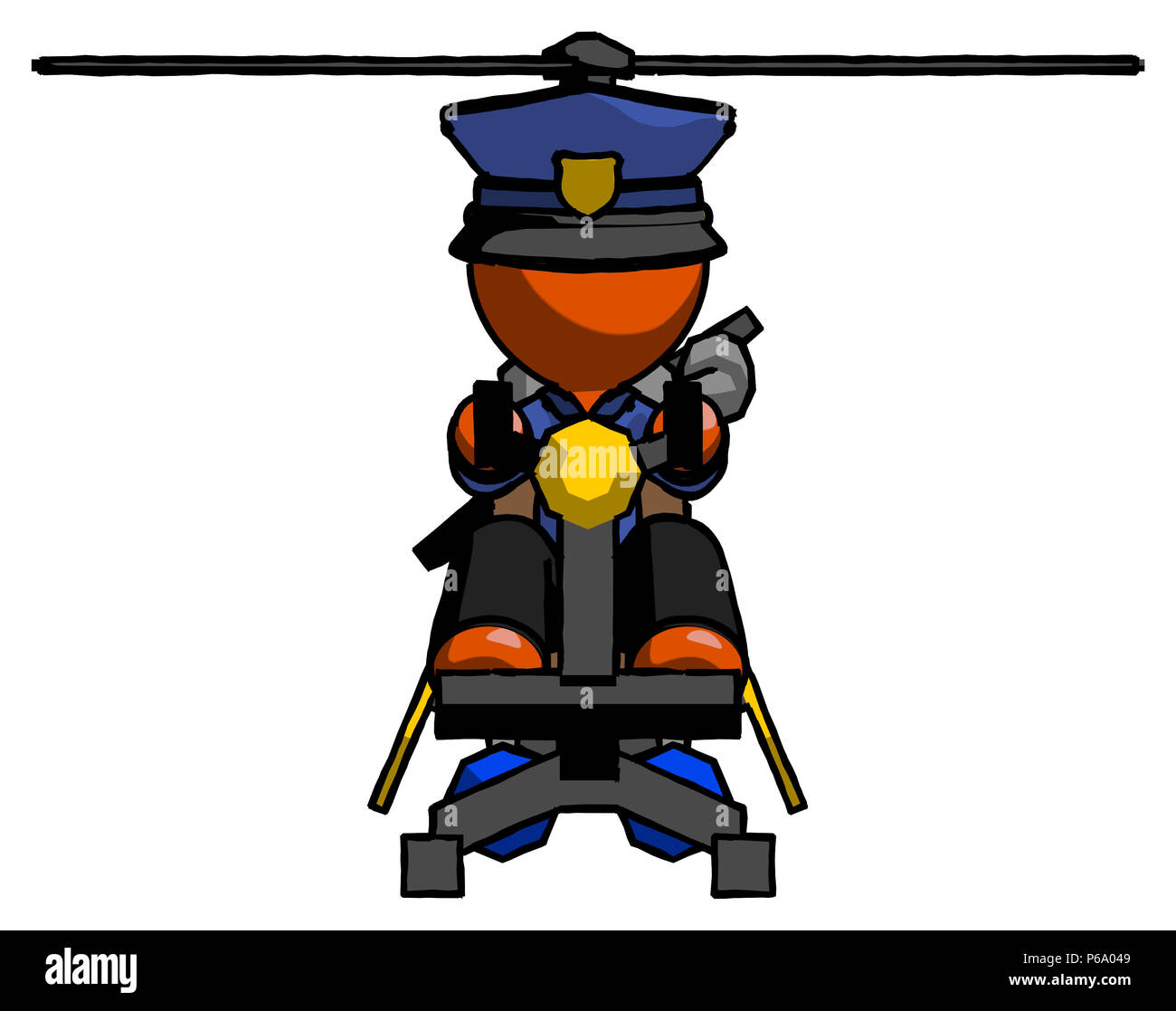 Orange Police Man flying in gyrocopter front view - Stock Image