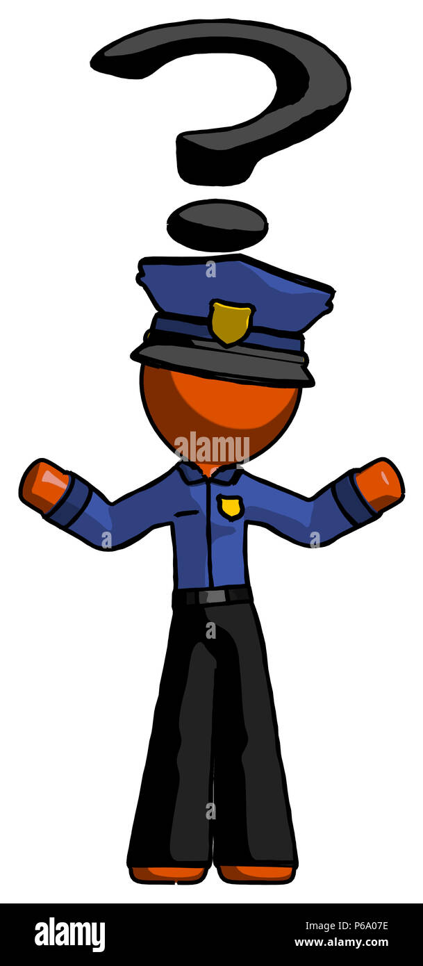 orange police man with question mark above head confused stock
