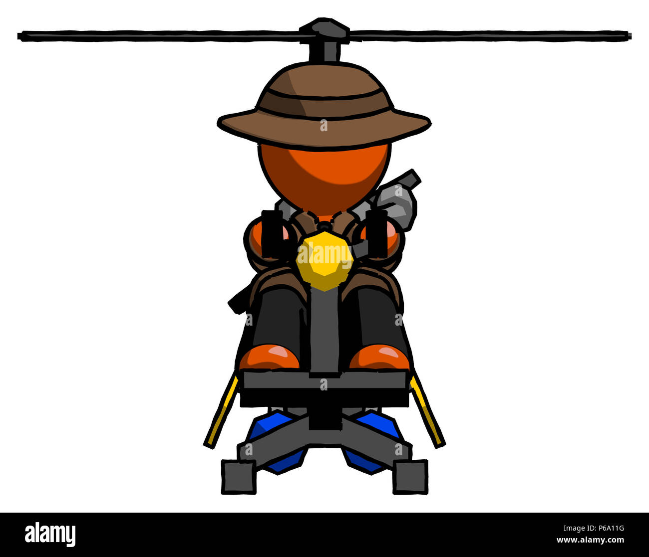 Orange Detective Man flying in gyrocopter front view - Stock Image
