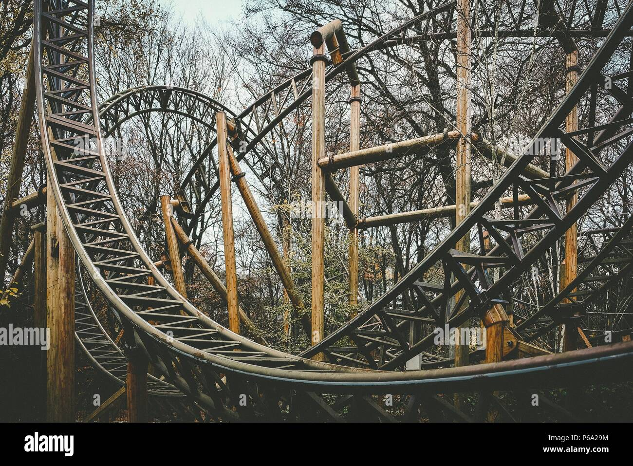 Abandoned Theme Park Roller Coaster Ride In Autumn In Europe Stock Photo Alamy