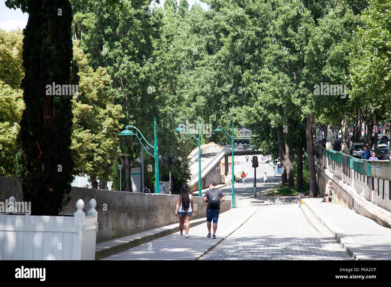 Seine Embankment Walkway Ramp - Paris France - Stock Image
