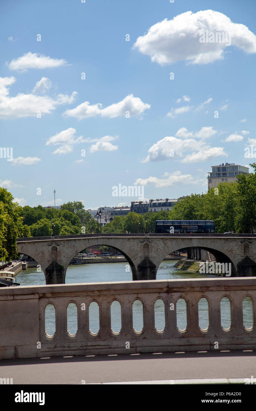 Views from Pont Louis Philippe across Pont Marie and beyond in Paris, France - Stock Image