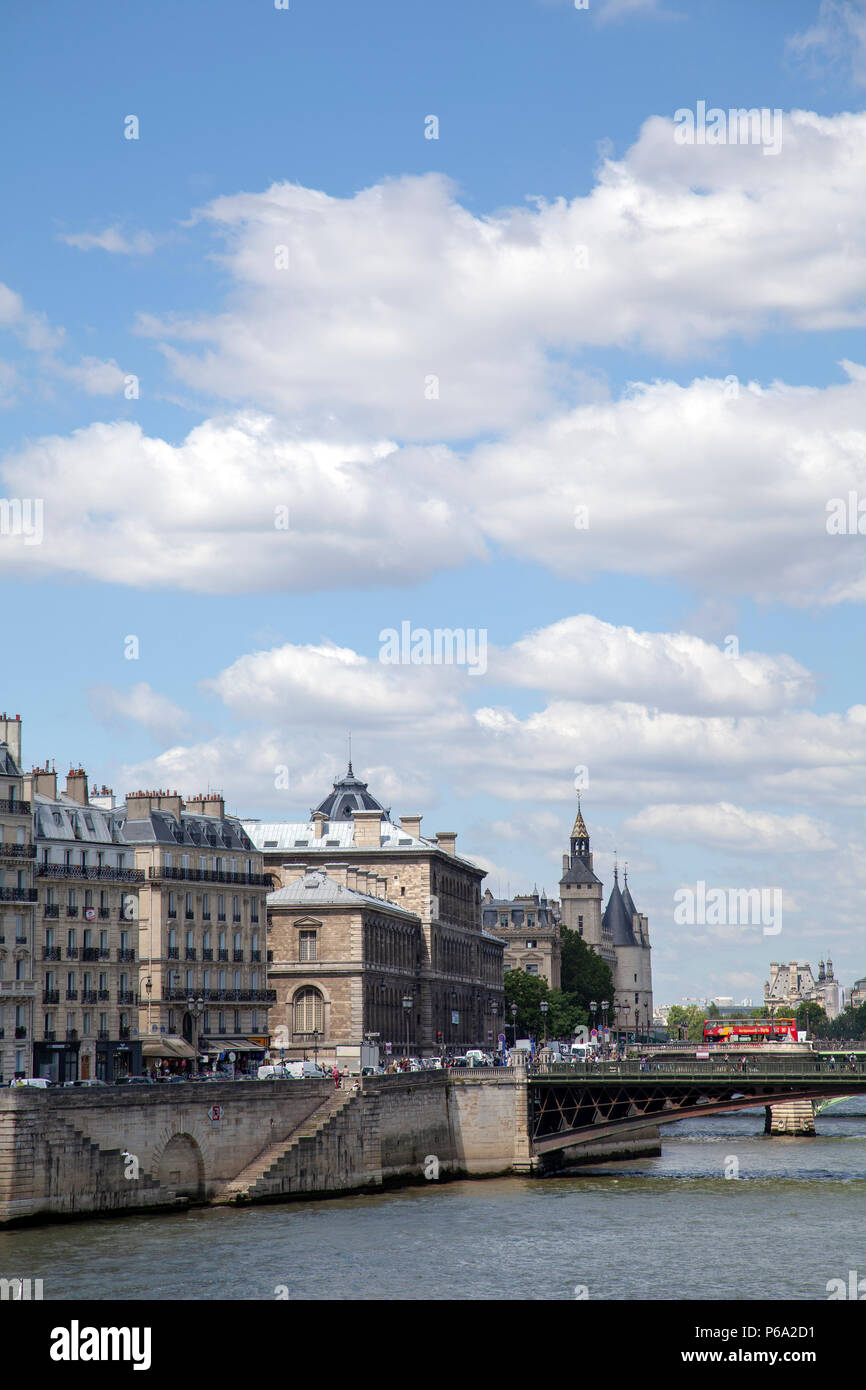 Views from Pont Louis Philippe Across River Seine and Ile de Cite in Paris, France - Stock Image