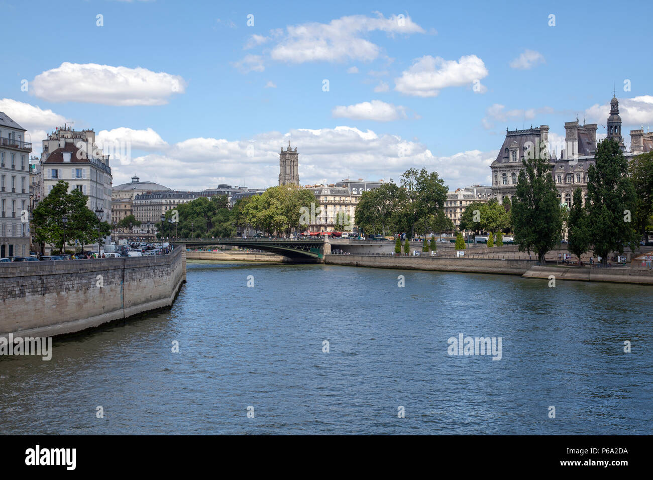 Views From Pont Saint-Louis in Paris, France - Stock Image