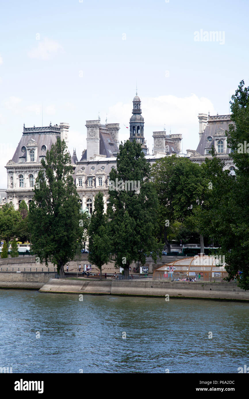 View of River and Hotel De Ville From Pont Saint-Louis in Paris, France - Stock Image