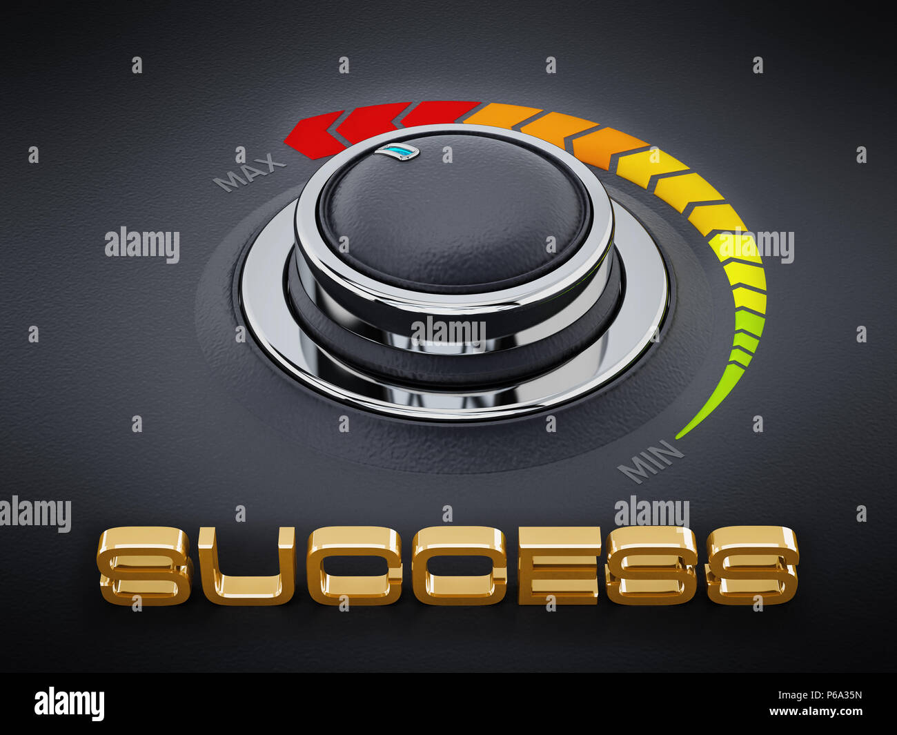 Vintage style control knob dial with success text. 3D illustration. - Stock Image