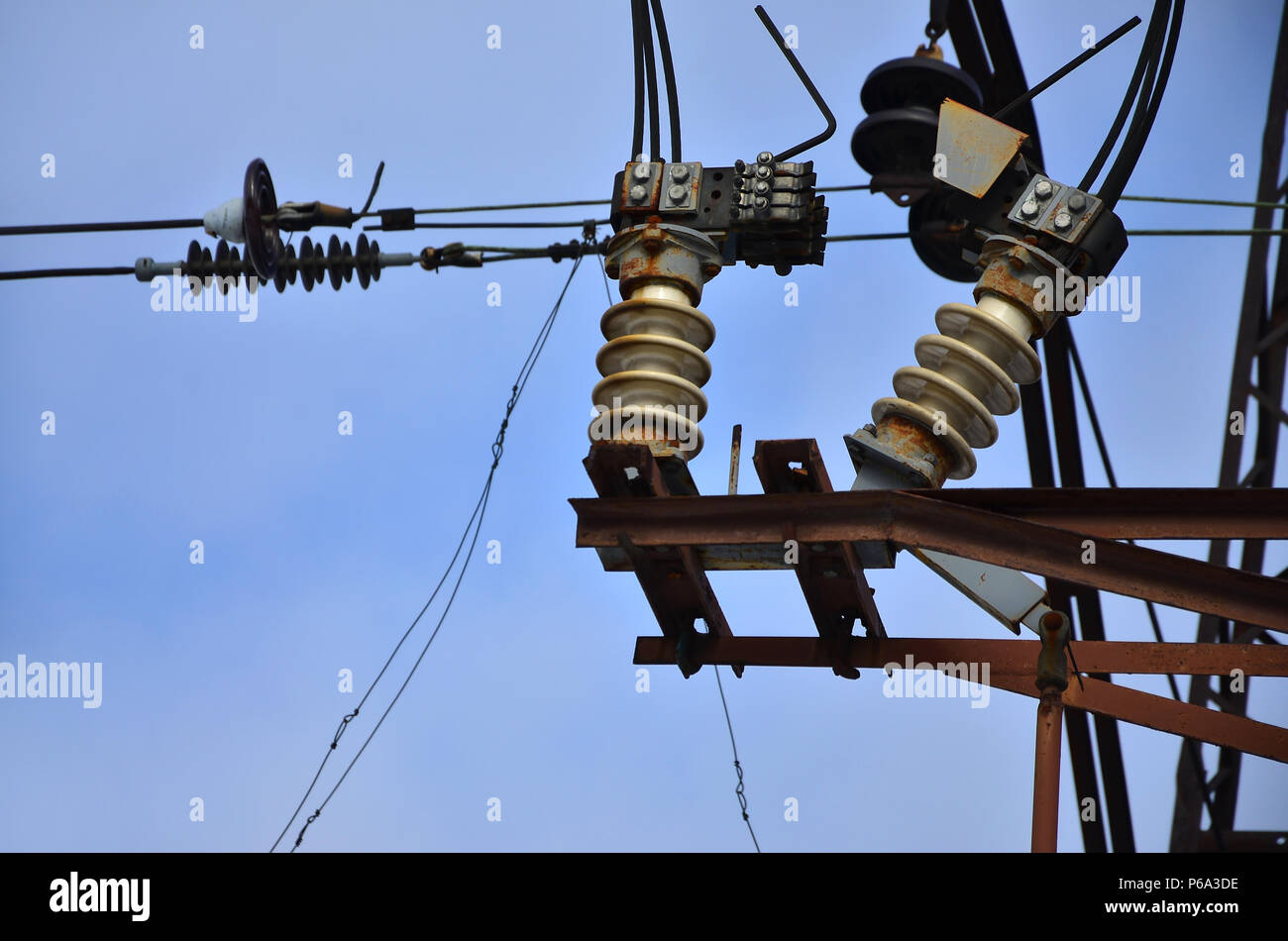 Electricity Transfer Network Stock Photos Electricityhouse Electrical Wiring Smart House Some Details From A High Voltage Post Accompanying The Transmission Of Through Wires Along