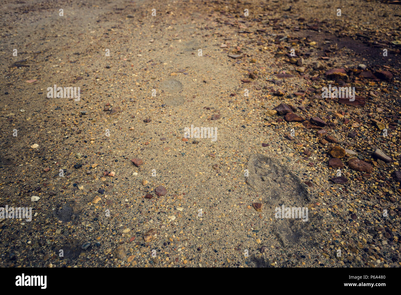 Footprint on the earth and stones in the mining landscape in the Zaranda mine, Spain - Stock Image