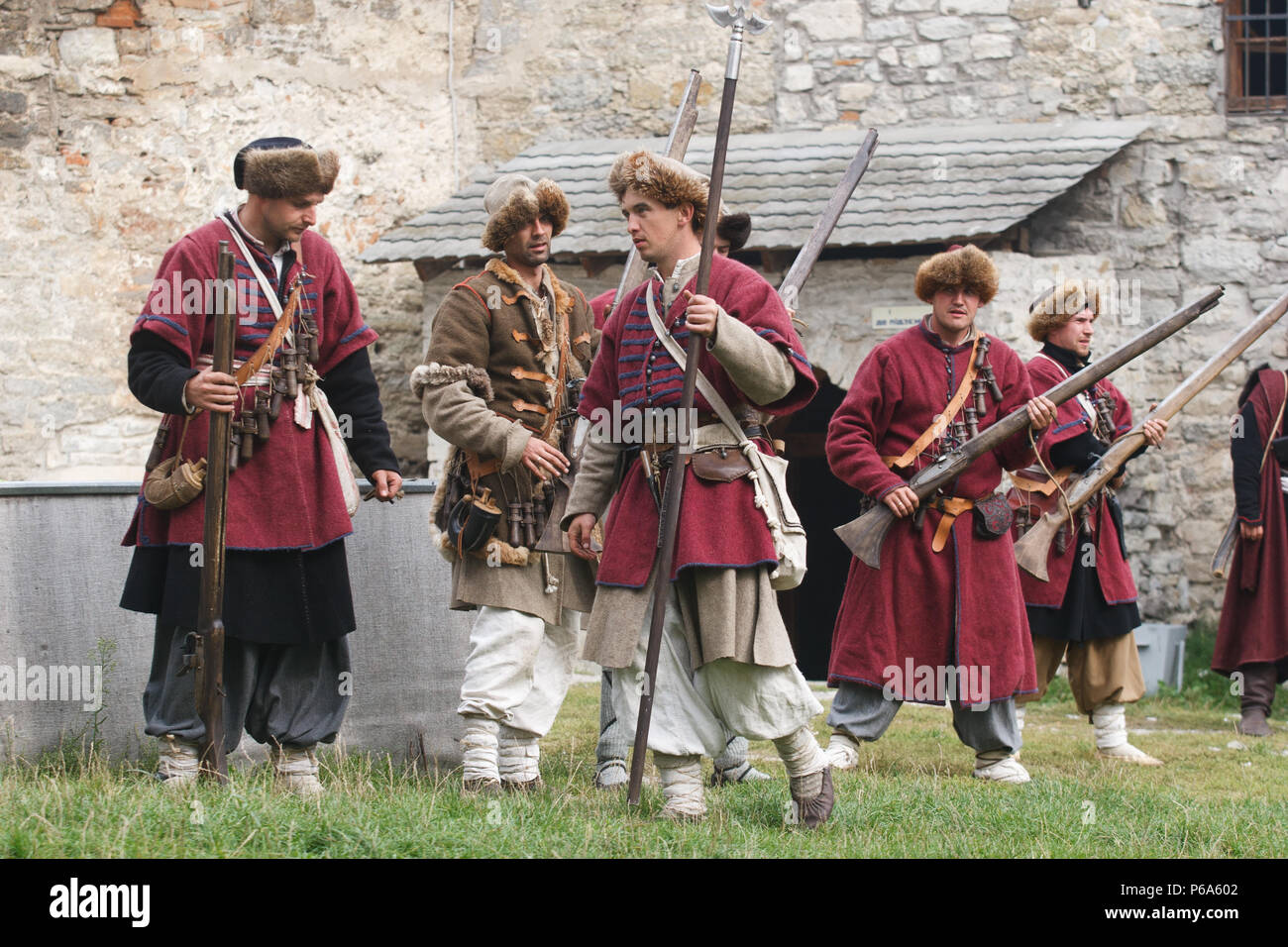KAMYANETS-PODILSKY, UKRAINE - SEPTEMBER 26, 2010: Members of history club wear historical uniform 17 century during historical reenactment. The Polish - Stock Image