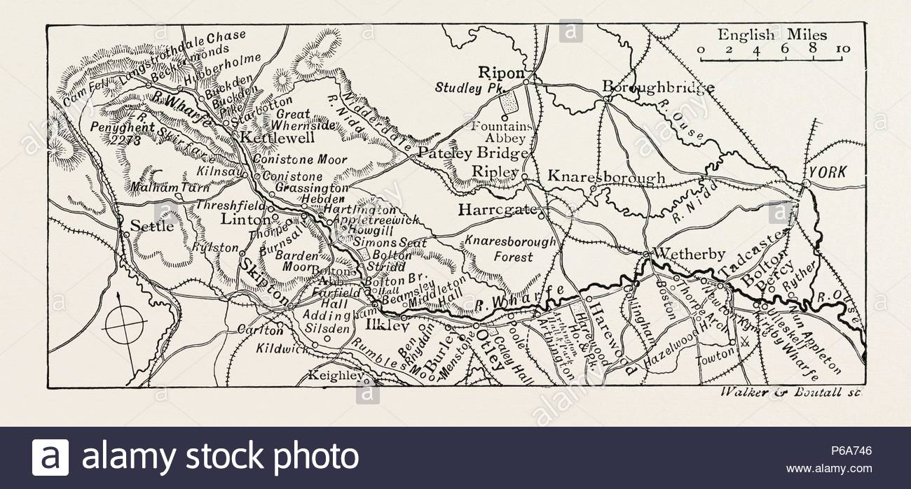 Map Of The Course Of The Wharfe Uk The River Wharfe Is A River In