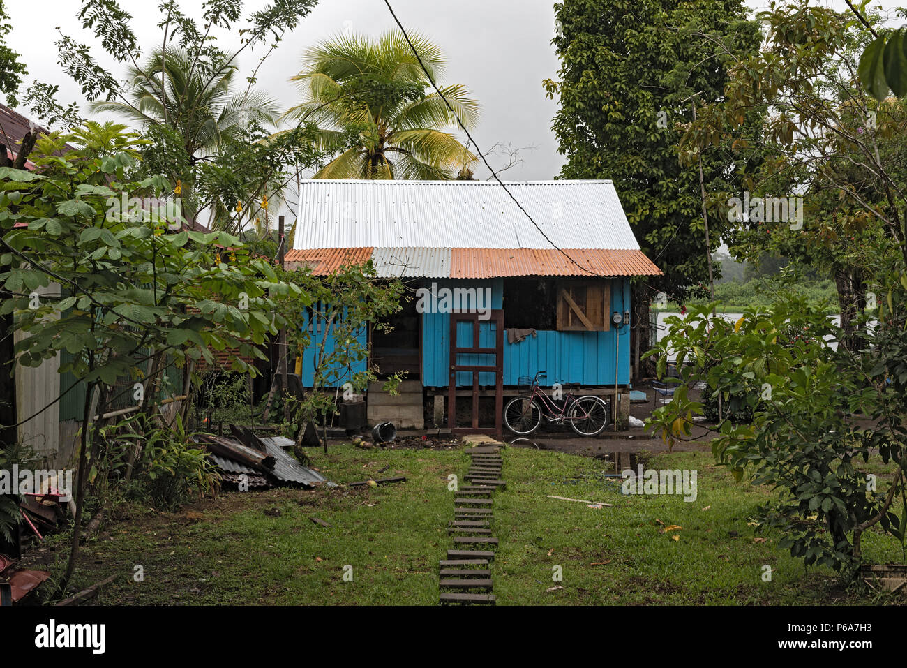 small blue wooden house in the city of tortuguero, costa rica - Stock Image