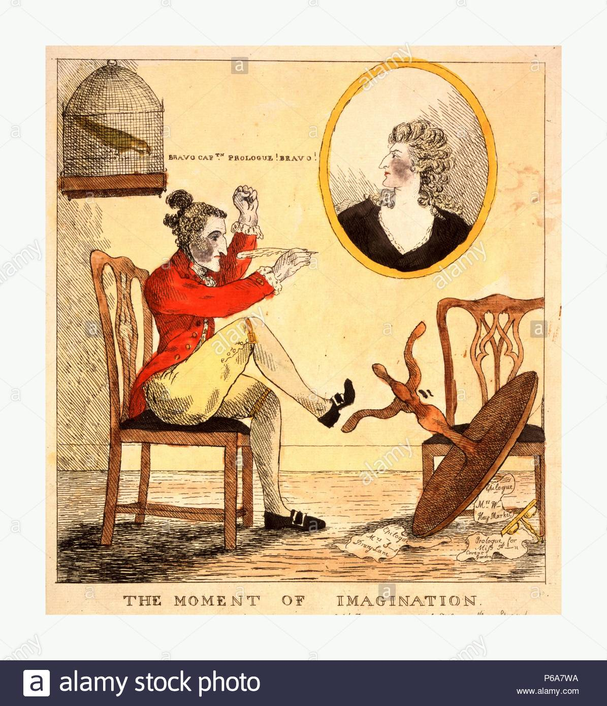 The moment of imagination, engraving 1785, Edward Topham, a pen in his hand, has just kicked over his circular writing table in frenzied inspiration. He raises his clenched fist. An inkstand and fragments of paper inscribed Epilogue Mrs. W... [Wells] Hay-Market, Epilogue Mrs. S...s [Siddons] Drury-Lane, and Prologue for Miss F... [Farren] Covent Garden lie on the floor. On the wall hangs an oval bust portrait of Mrs. Siddons. Over Topham's head is a small parrot in a cage, saying, Bravo Cptn. Prologue! Bravo!. - Stock Image