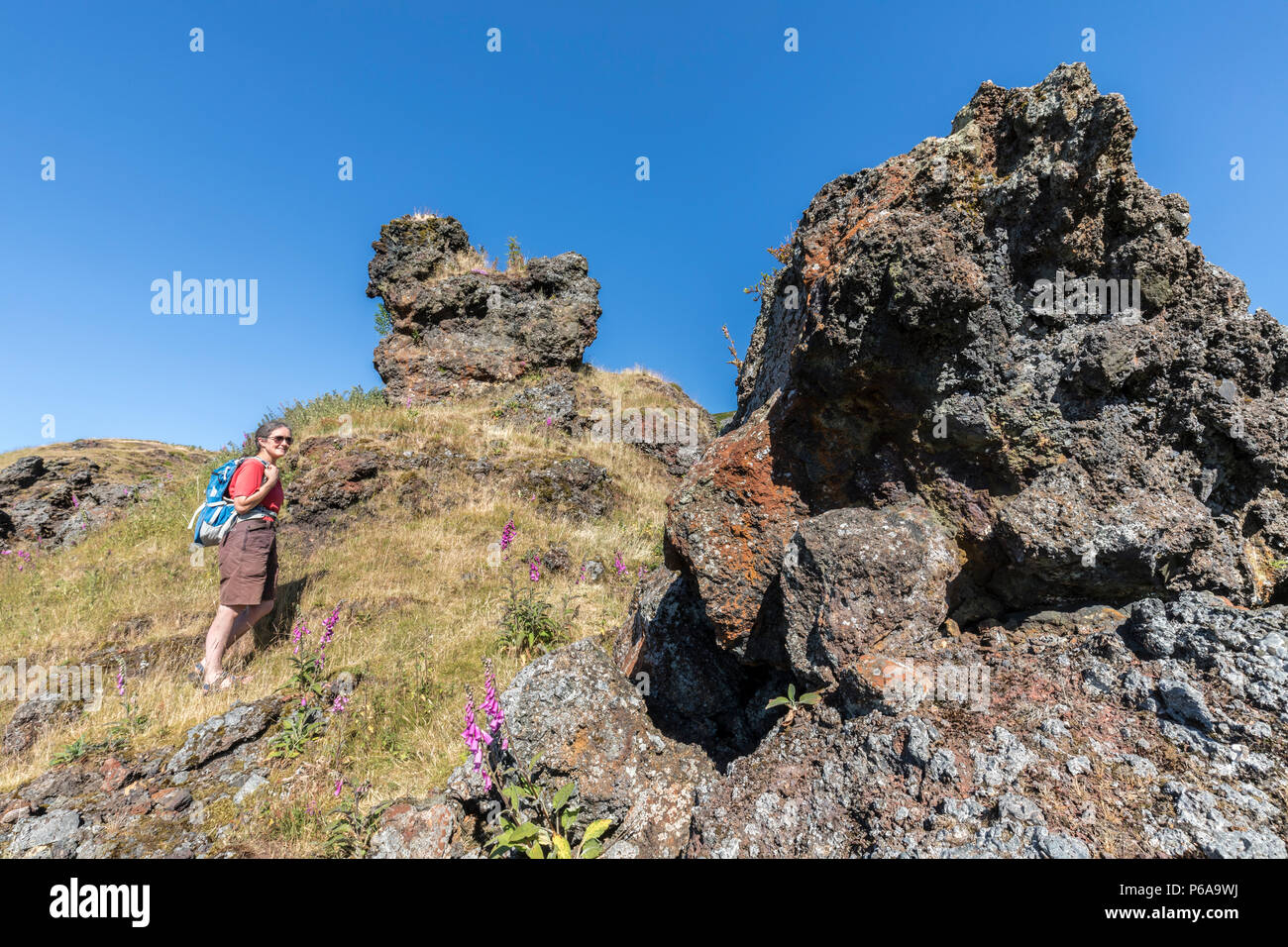 Remains of iron slag at the Garnddyrys forge, Pwll Du, Blaenavon, Wales, UK - Stock Image