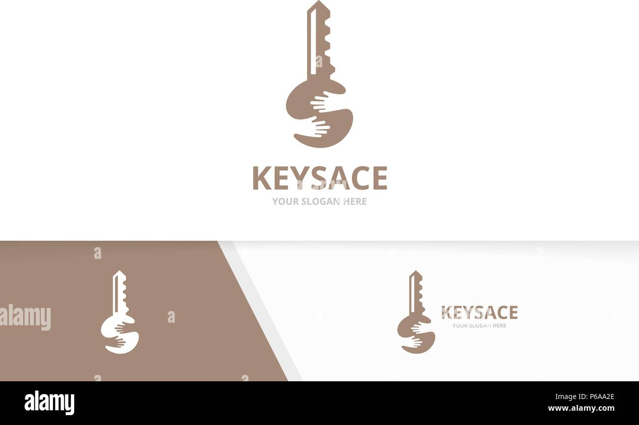 Vector key and hands logo combination. Lock and hug symbol or icon. Unique house and embrace logotype design template. - Stock Image