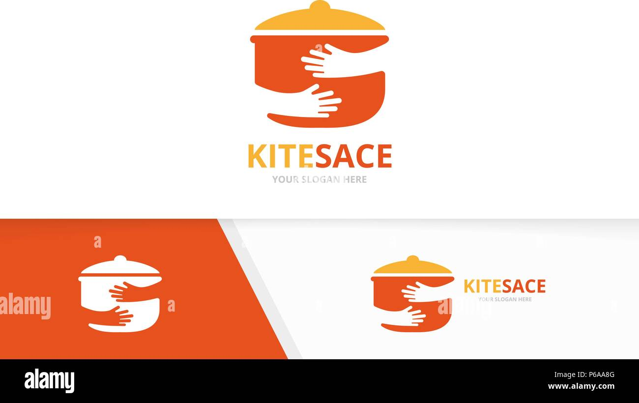 Vector Pot And Hands Logo Combination Kitchen And Hug Symbol Or