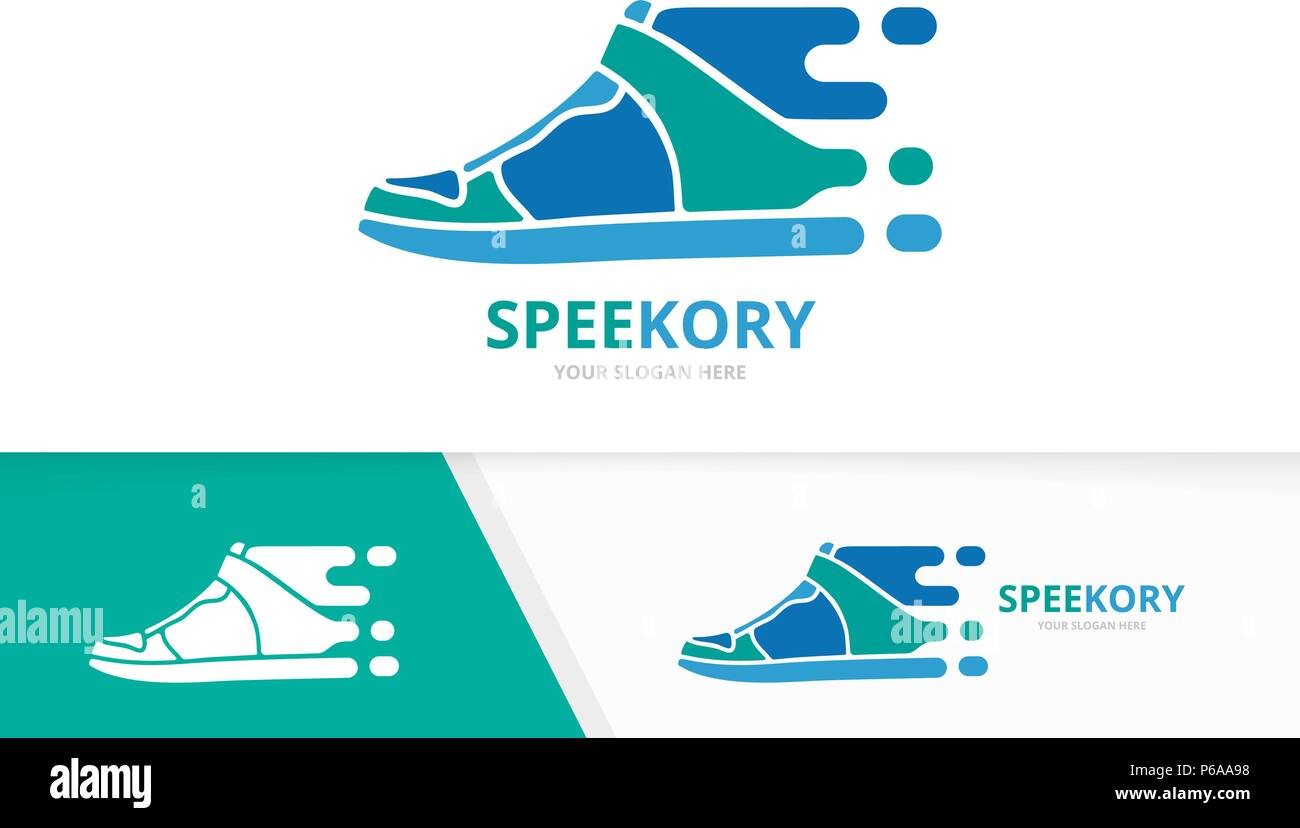Vector Fast Sneaker Logo Combination Speed Shoe Symbol Or Icon Unique Footwear And Quick Logotype Design Template