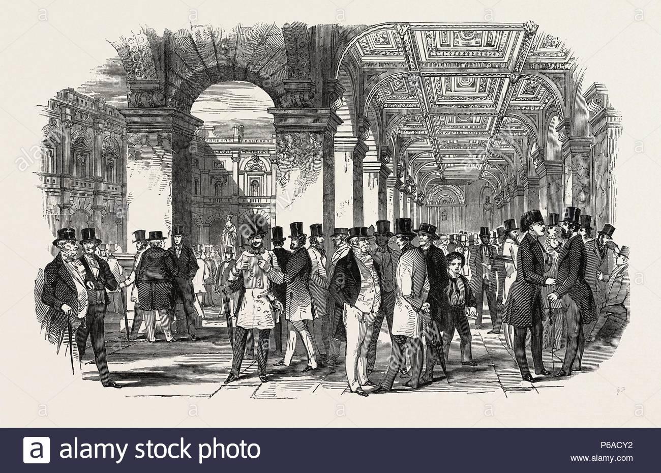 THE MERCHANTS' WALK (SOUTH WEST ANGLE), ROYAL EXCHANGE. UK, 1847. - Stock Image