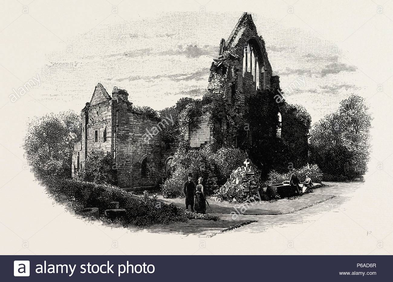 DRYBURGH ABBEY, FROM THE EAST, UK. Dryburgh Abbey, near Dryburgh on the banks of the River Tweed in the Scottish Borders, was nominally founded on 10 November (Martinmas) 1150 in an agreement between Hugh de Morville, Lord of Lauderdale and Constable of Scotland, and the Premonstratensian canons regular from Alnwick Abbey in Northumberland. - Stock Image