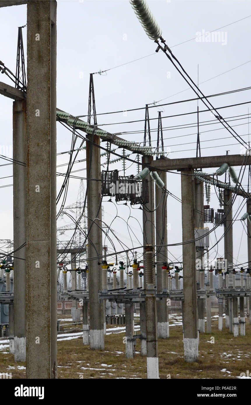 Power Plant Is A Station Of Transformation Lot Cables Poles Wiring Transformers Together And Wires Electro Energy