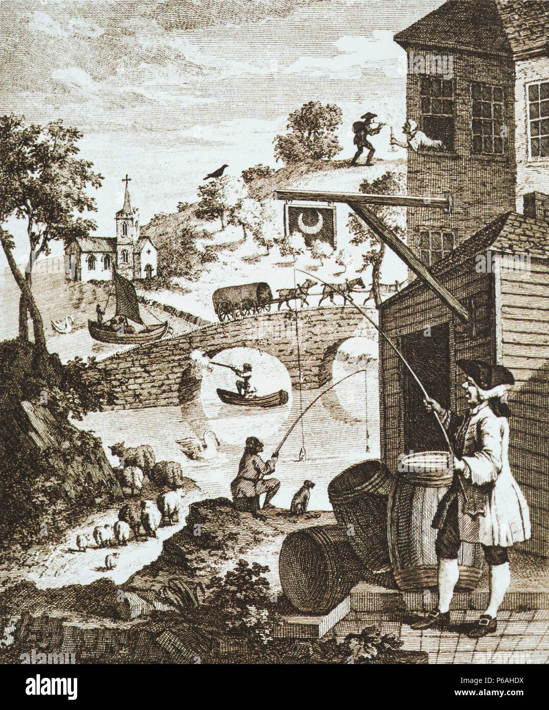 Satire on False Perspective, William Hogarth ( 1697 – 1764 ) 1754, Private  Collection.