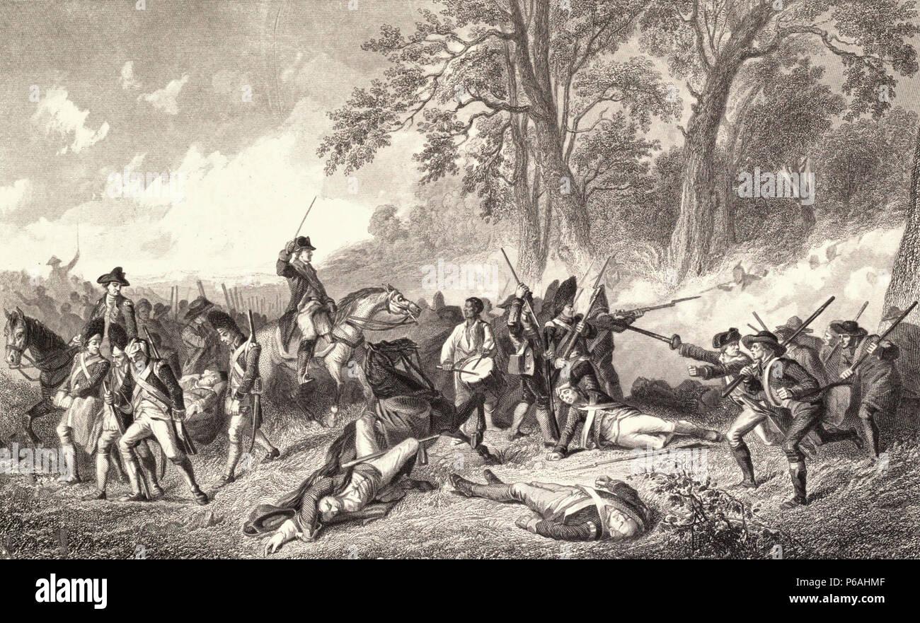 Fall of Major General Edward Braddock, July 1755 - Stock Image