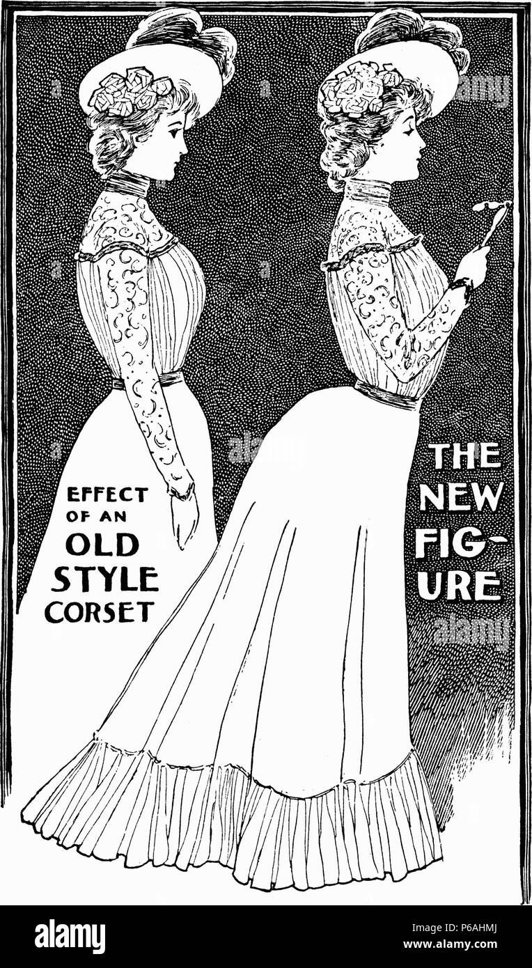 Illustration from the Ladies Home Journal, October 1900, contrasting the old Victorian corseted silhouette with the new Edwardian 'S-bend' corseted silhouette. October 1900 - Stock Image