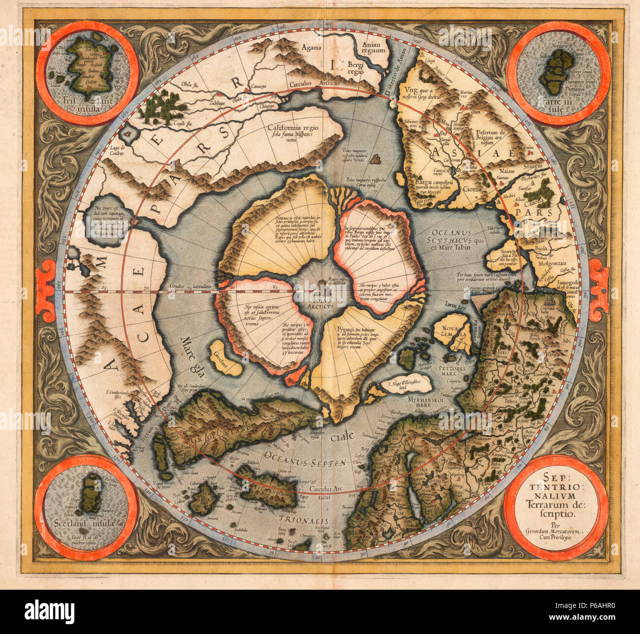 This is the first printed map of the Northern hemisphere from the Arctic pole to 60 degrees north latitude which was originally published in 1595. The map includes the discoveries of Frobisher (1576-78) and Davis (1585-87). - Stock Image