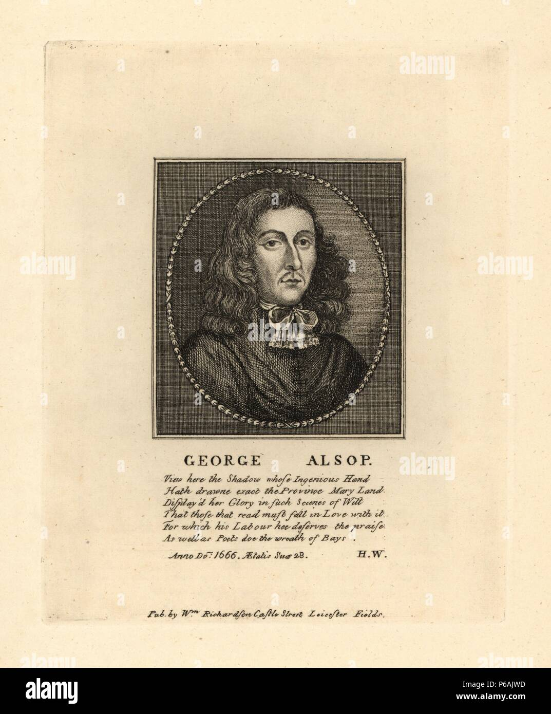 """George Alsop, aged 28, author of """"A Character of the Province of Maryland,"""" 1666. Copperplate engraving from Richardson's """"Portraits illustrating Granger's Biographical History of England,"""" London, 1792–1812. Published by William Richardson, printseller, London. James Granger (1723–1776) was an English clergyman, biographer, and print collector. Stock Photo"""
