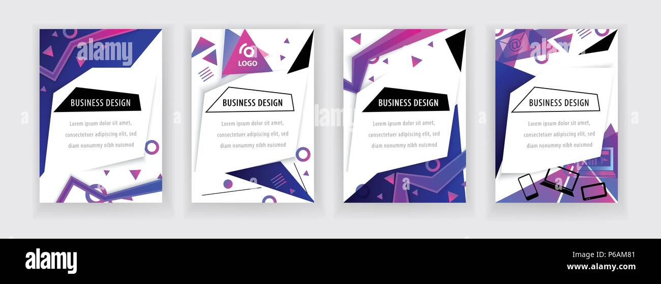 Vertical white banners with neon blue pink abstract design elements., thin icons. Vector technology background. - Stock Image