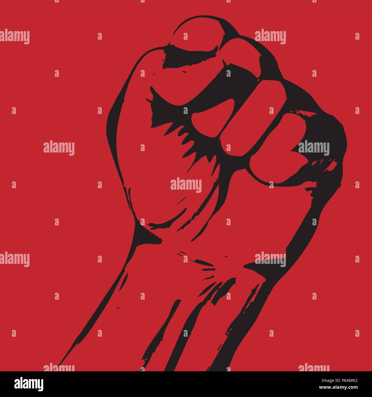 Strike poster with tight fist - protest concept - Stock Vector