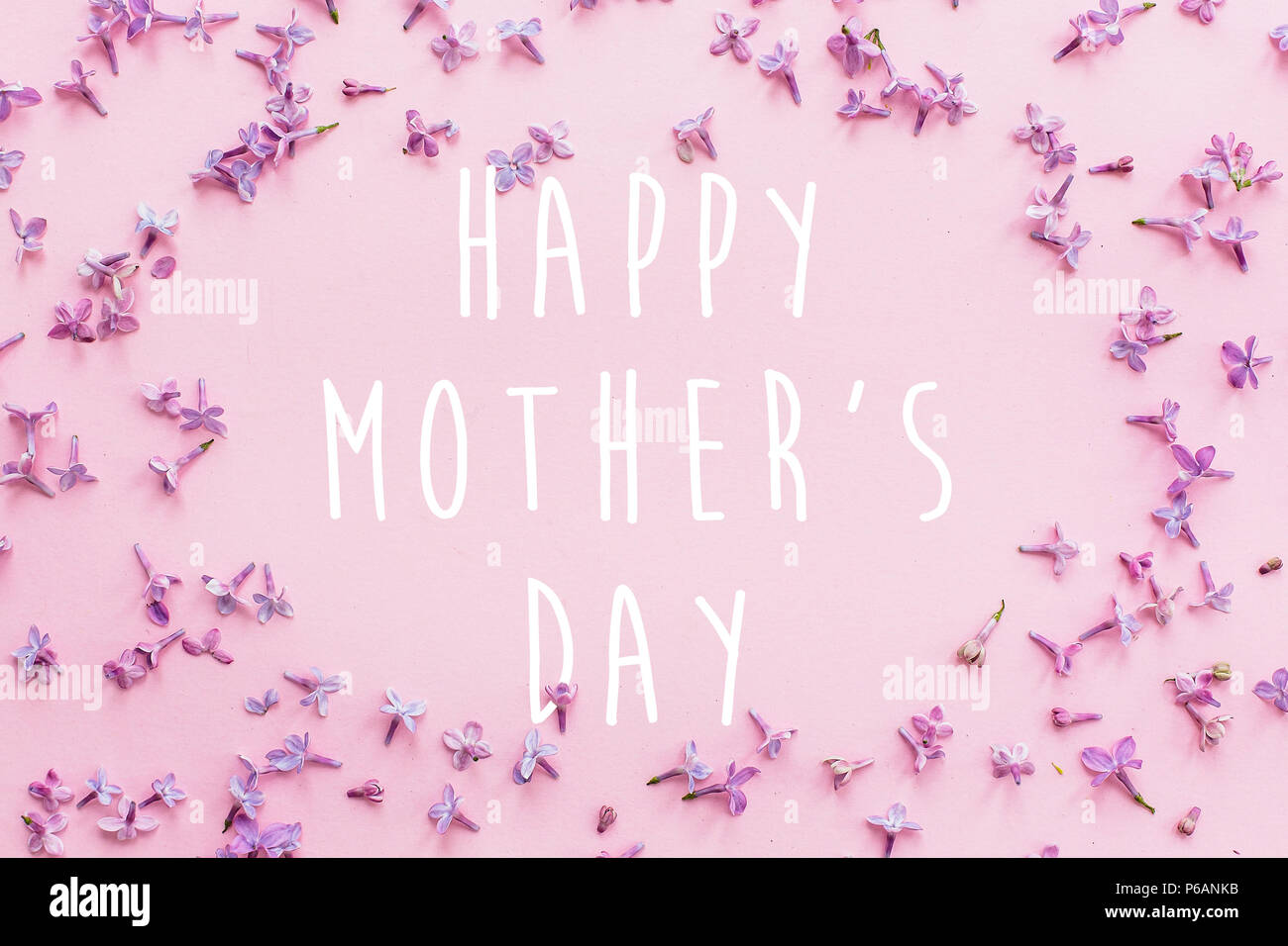 Happy Mothers Day Text Greeting Card Beautiful Lilac Purple