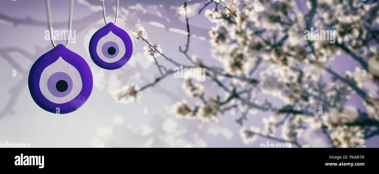 Spring Blooming, evil eye, Turkish tradition. Good luck charms and almond or cherry tree blooming, banner. 3d illustration - Stock Image