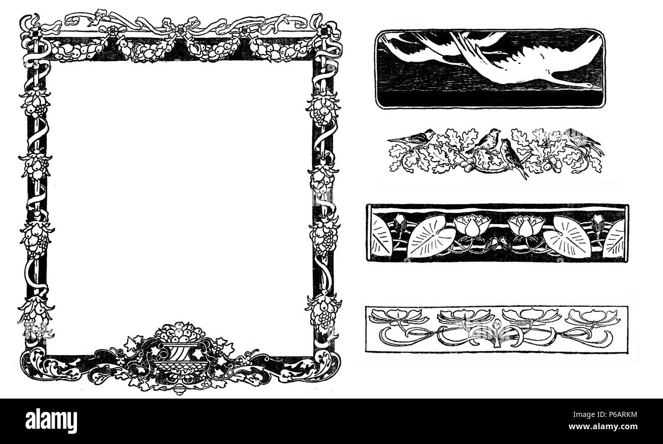 Typographic decorative art deco elements early '900: floral frame, banners, borders and end chapter decorations Stock Photo