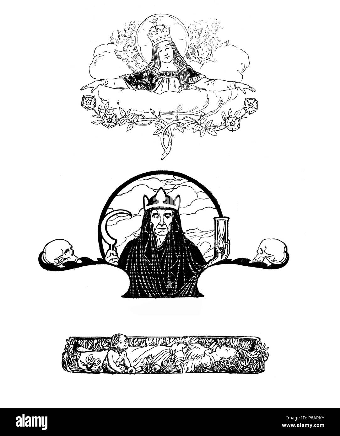 Typographic decorative art deco elements early '900:fantastic figures, women,saint, queen,death symbols,time and floral as banner, border and end chapter decoration Stock Photo