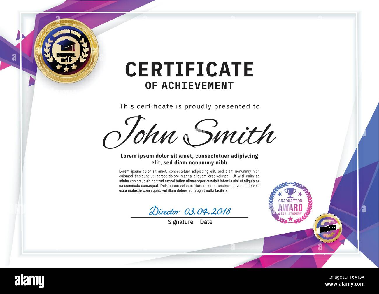 Official white certificate with blue triangles and education design ...