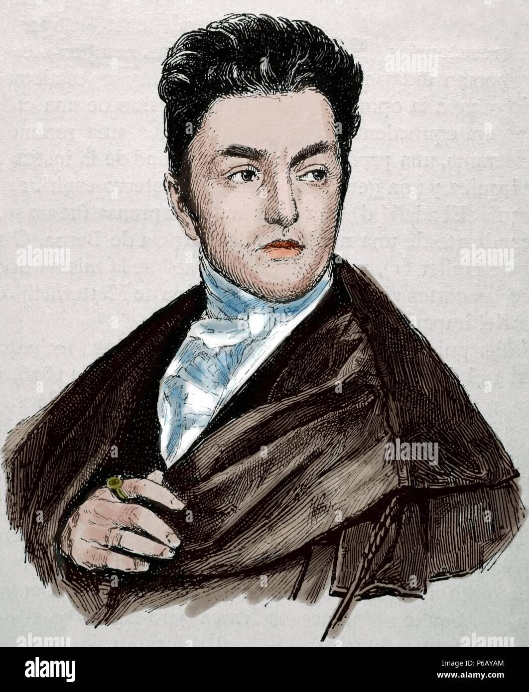 Maximilian Emanuel von Lerchenfeld (1778-1843). Germany. Engraving by Historia Universal, 1883. Colored. - Stock Image