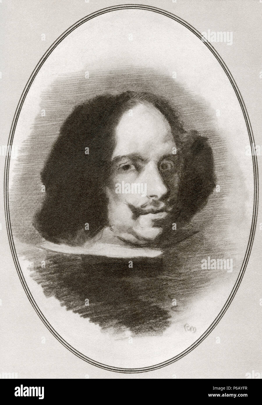 Diego Rodríguez de Silva y Velázquez, 1599 – 1660. Spanish painter.  Illustration by Gordon Ross, American artist and illustrator (1873-1946), from Living Biographies of Great Painters. - Stock Image