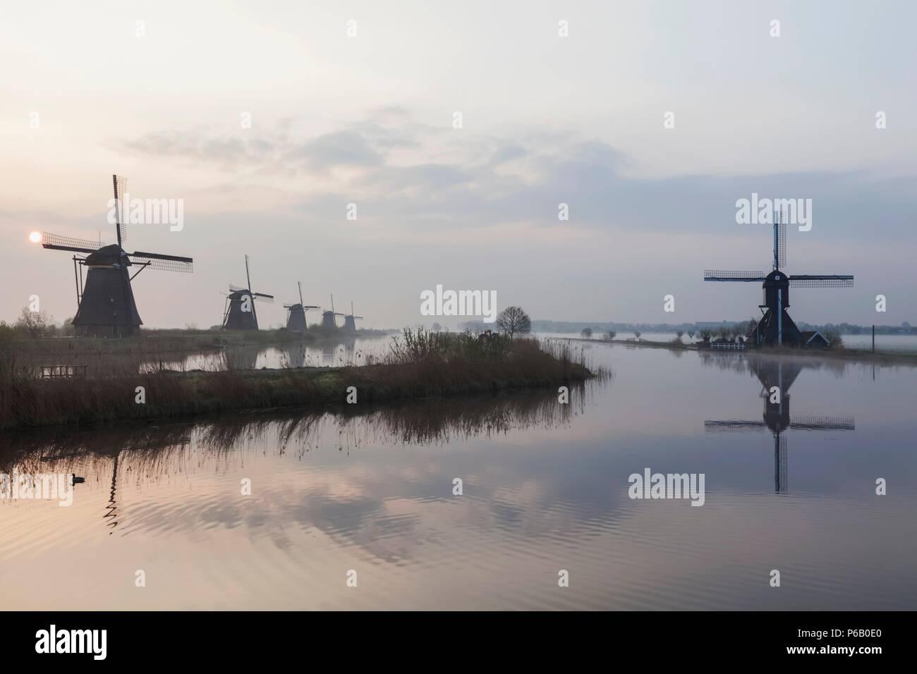 Europe, Netherlands, Alblasserdam, Kinderdijk, Windmills - Stock Image