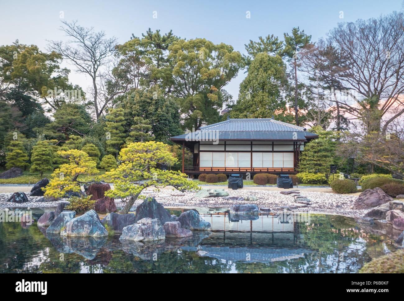 Japan, Kyoto City,, Imperial castle gardens, tea house Stock Photo