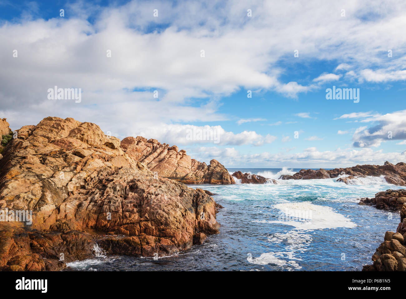 famous rocks in  canal of the coast in Busselton is a city on the southwest tip of Western Australia - Stock Image