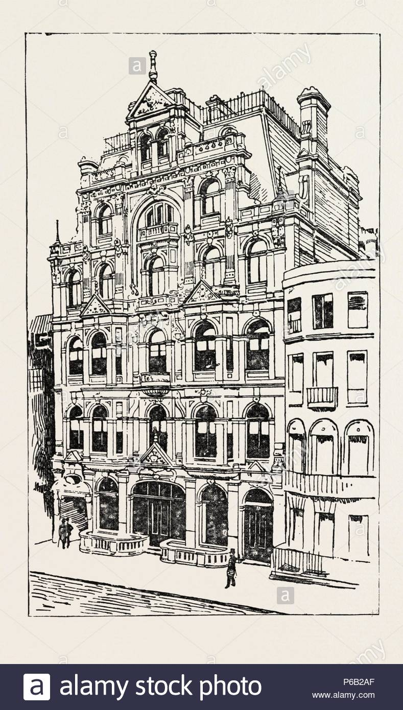 EXTERIOR OF THE MEISTERSINGERS CLUB, LONDON, engraving 1890, UK, U.K., Britain, British, Europe, United Kingdom, Great Britain, European. - Stock Image