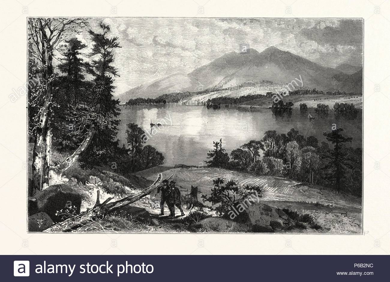 CAT MOUNTAIN, LAKE GEORGE. THOMAS MORAN, England was an American painter and printmaker of the Hudson River School in New York whose work often featured the Rocky Mountains. USA. - Stock Image
