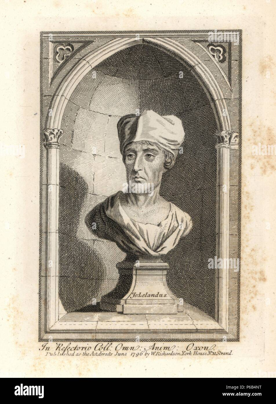 """John Leland, Canon of King's College, Oxford, antiquarian. Died 1652. Copperplate engraving from Richardson's """"Portraits illustrating Granger's Biographical History of England,"""" London, 1792–1812. Published by William Richardson, printseller, London. James Granger (1723–1776) was an English clergyman, biographer, and print collector. Stock Photo"""